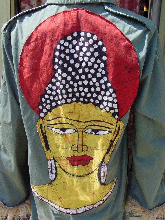 Altered  long army jacket budha batik with  racoon faux fur by C. Reinke