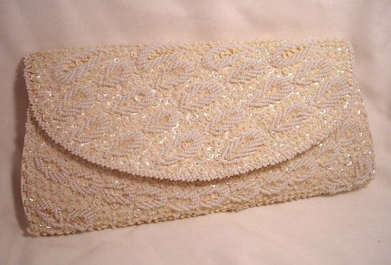 White Beaded and Sequin Vintage Clutch, by Ganson