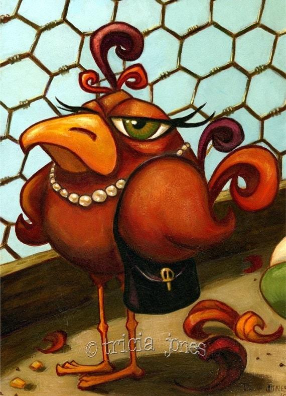 Print 5x7, Flying the Coop, rustic chicken hen