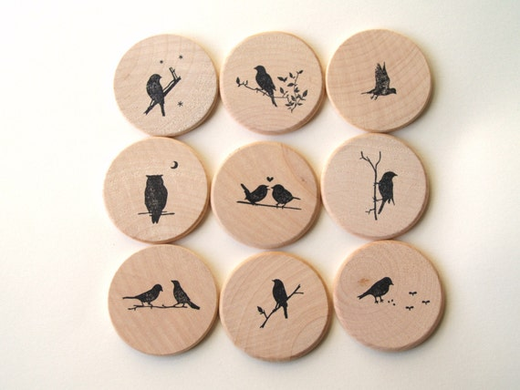 Wooden Hand Stamped Memory Game (Birdie Theme)