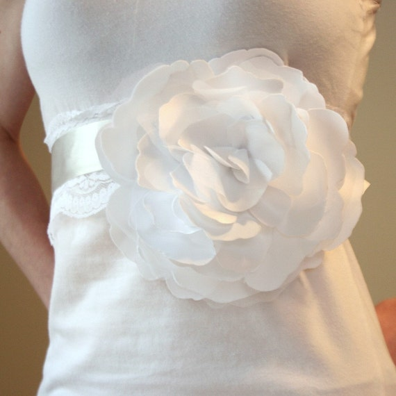 Billowing Bloom - White or Ivory . Satin . Organza. Oversized Fascinator for Hair or Waist