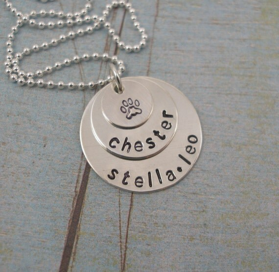 Sterling Silver Hand Stamped Personalized Three Disc Layered Necklace