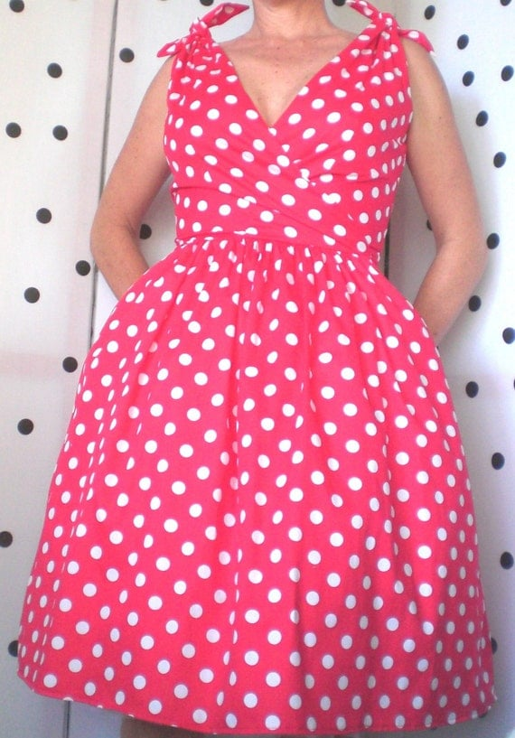 Racey Red Spot Tie Pin Up  Bombshell 50s Rockabilly Dress