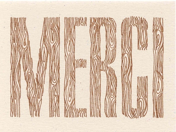 Woodgrain Merci Card