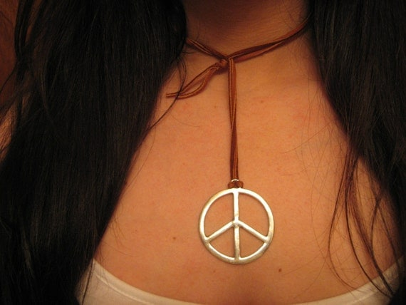 Peace Sign Leather Necklace