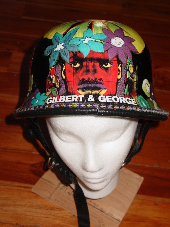 Gilbert and George inspried GERMAN war  helmet by reycled artist  C. Reinke