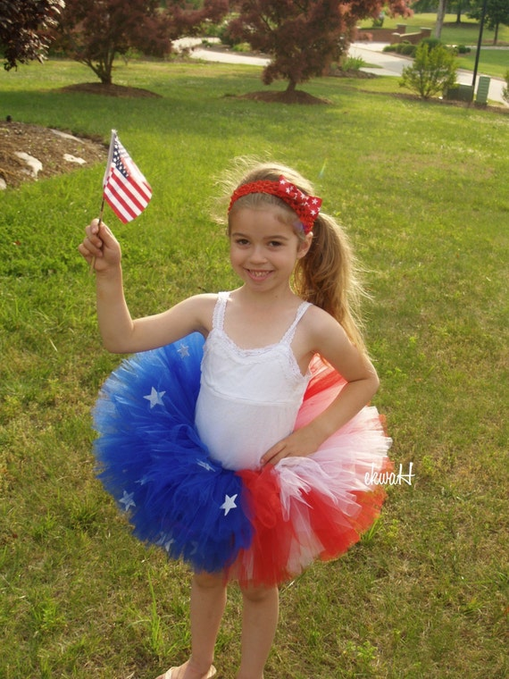 American Flag Sewn Tutu with crochet headband and matching bow