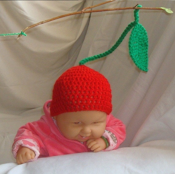 Sweet cherry beanie. Great for a photo prop. For customer order ready to shipment in 24 hours. Item 051