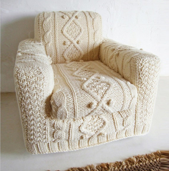 hand knitted cream aran armchair slip cover
