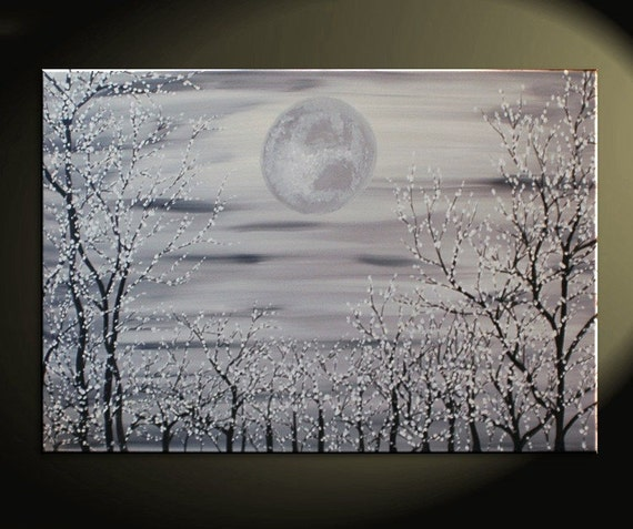 36x24 Monochrome Cherry Blossom Trees Painting Original Blooming Forest and Huge Moon Black and White Art by Nathalie Van free color customization Available to ship immediately