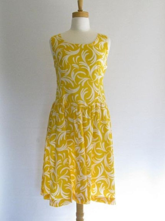 Banana Yellow and White Swirl Sundress
