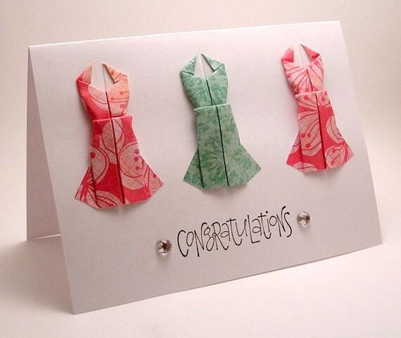 Mini Origami Dress Congrats Card (pink teal)