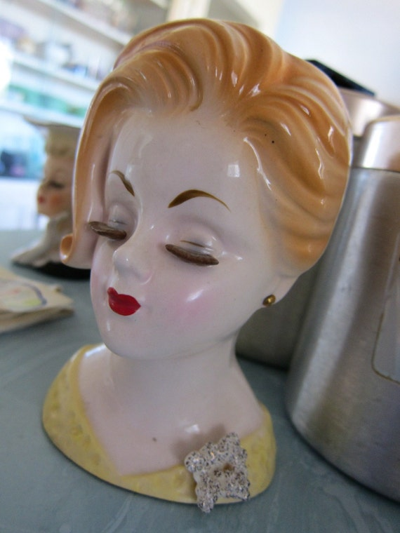 Vintage Velco Head Vase Gorgeous Lady Redhead 10759 Made in Japan