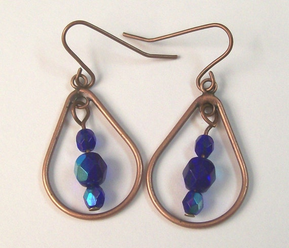 Antique Copper and Cobalt Dangle Earrings