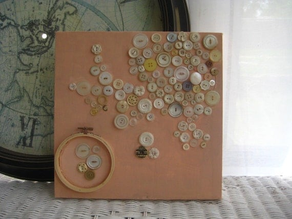Original Vintage Button Art on Canvas - Peach