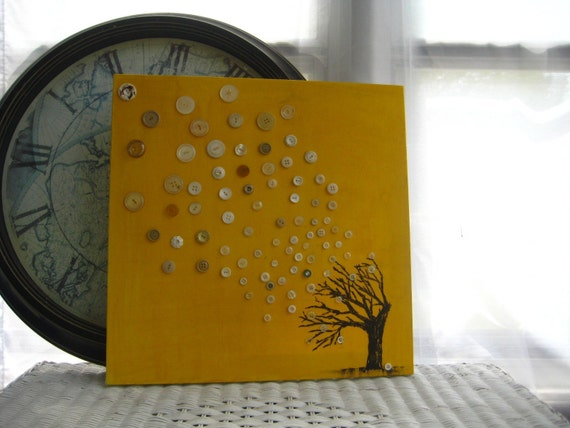 Original Mixed Media on Canvas with Vintage Buttons - Migration