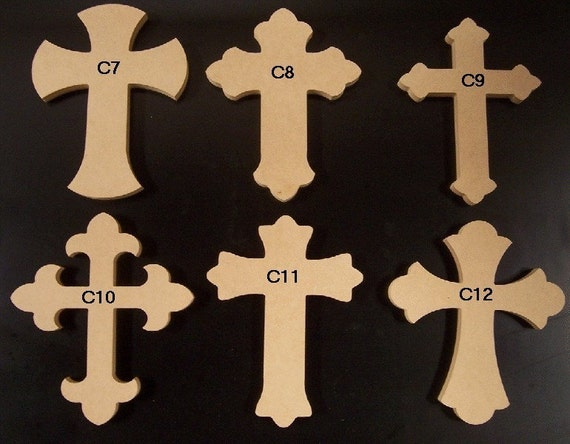 6 x 9 Inch Wooden Cross made from 1/4 thick MDF, Choose from 24 different Crosses.