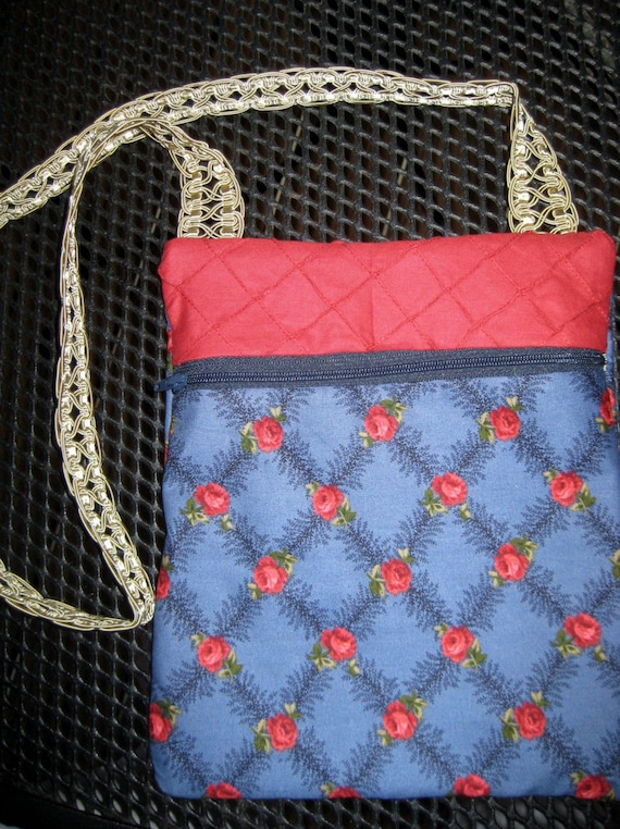 Red Blue and Sage Large Errand Bag