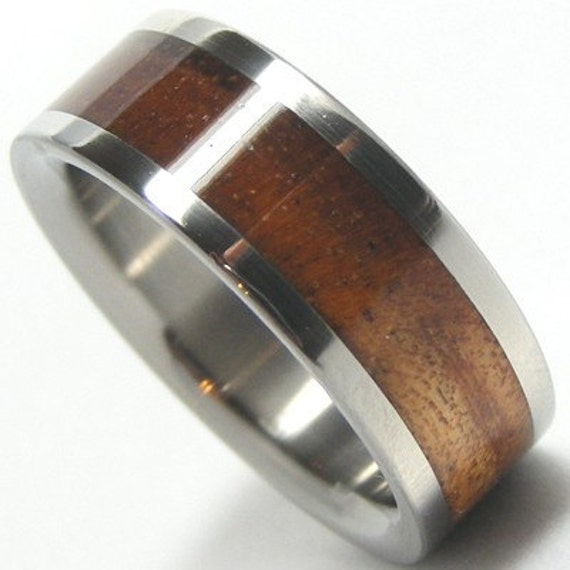 Wooden Titanium Wedding Band Koa Wood Ring Custom Designed His or Hers Bands