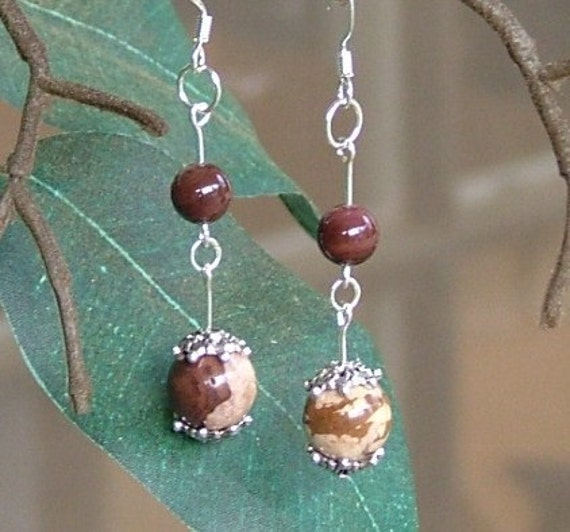 Beaded Jasper Earrings Brown Shell Beads Silver Dangle 2 Inches Hand Made