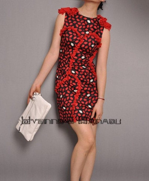 سیاه قرمز سفید لب استیک جنگل پنبه Ruffles نوعی پارچه ابریشمی گل آستین لباس کوکتل حمل و نقل بین المللی رایگان