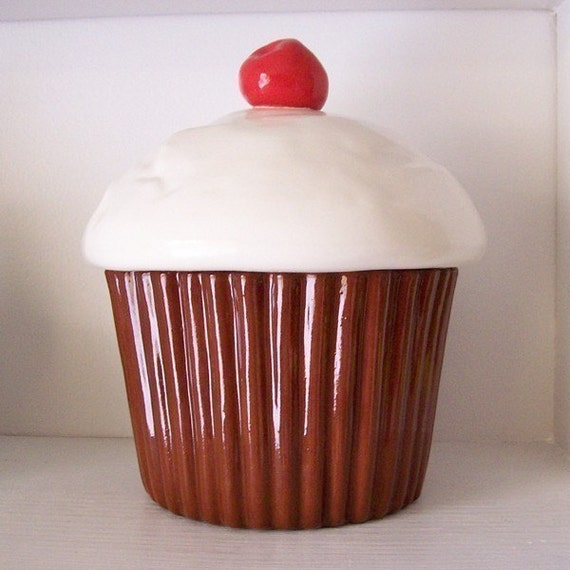 Ceramic Chocolate Cupcake Cookie Jar