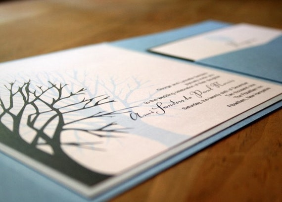 Winter Tree Pocketfold Wedding Invitation - Deposit to get started