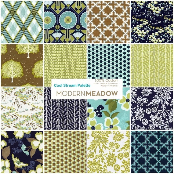 Modern Meadow by Joel Dewberry - Cool Stream Fat Quarter Pack
