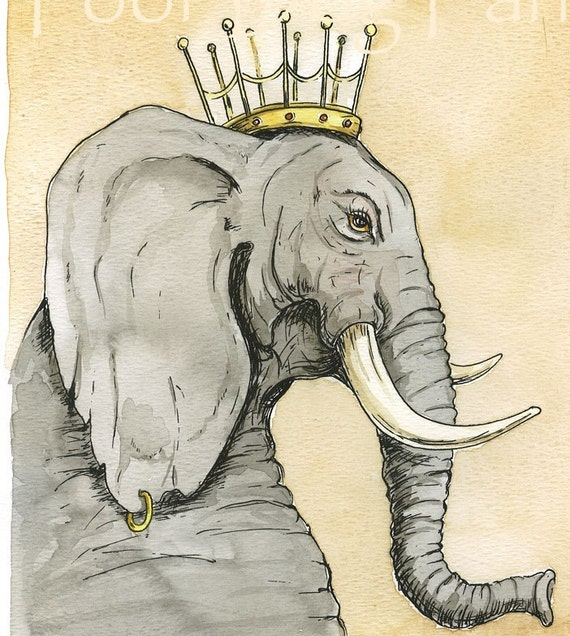 Elephant Queen (an original 8x10 hand painted Queen)