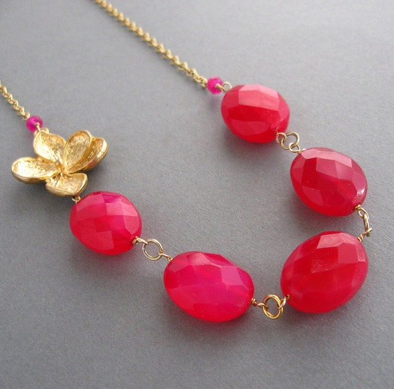 HOT PINK CHALCEDONY NECKLACE-FLORAL FANTASY