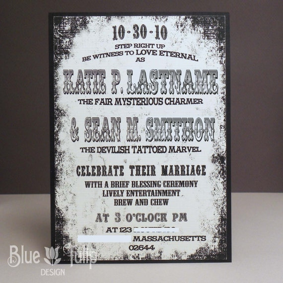Vintage Circus Poster Wedding Invitation