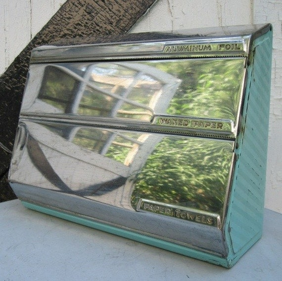 Vintage Turquoise and Chrome Paper Towel Holder