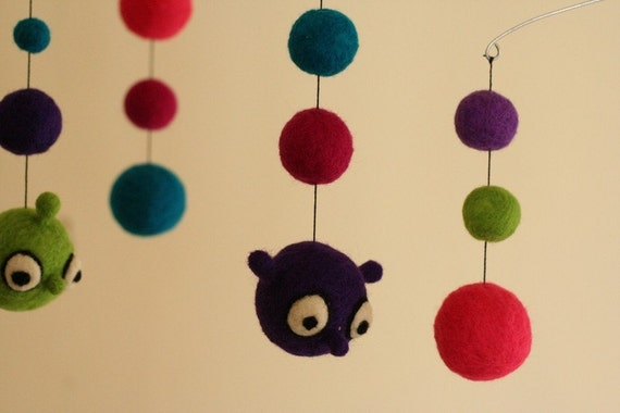 Silly Monsters - Felted Wool Mobile - Eco Friendly - Natural - Baby