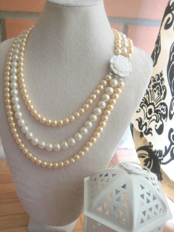 Multi tiered layered glass pearl necklace in GOLD and IVORY