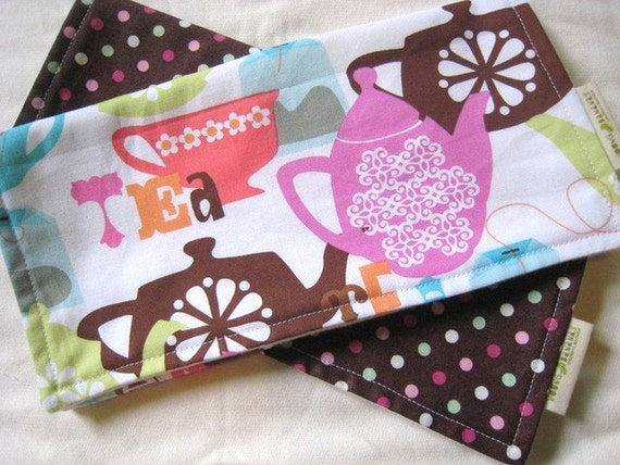 Not Your Mama's Burpies - Set of Two Organic Bamboo Burp Cloths - Teatime