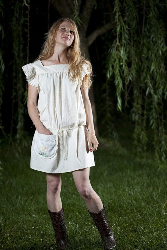NATURE GIRL Handmade Hippie Smock Dress in natural Muslin s m l ooak