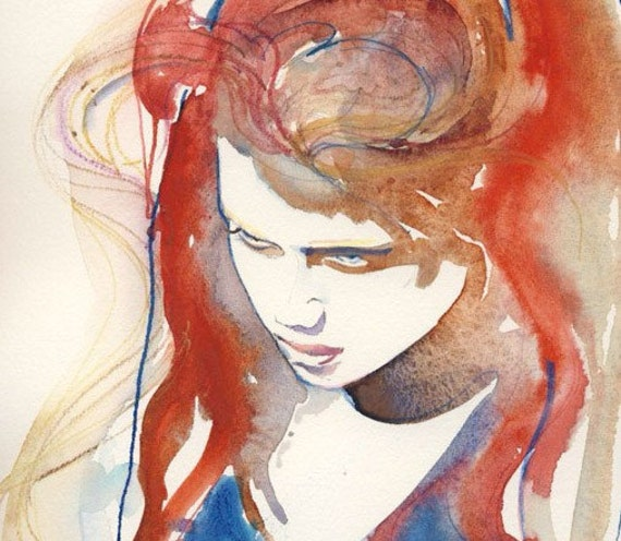 Watercolor Fashion Illustration - Amber