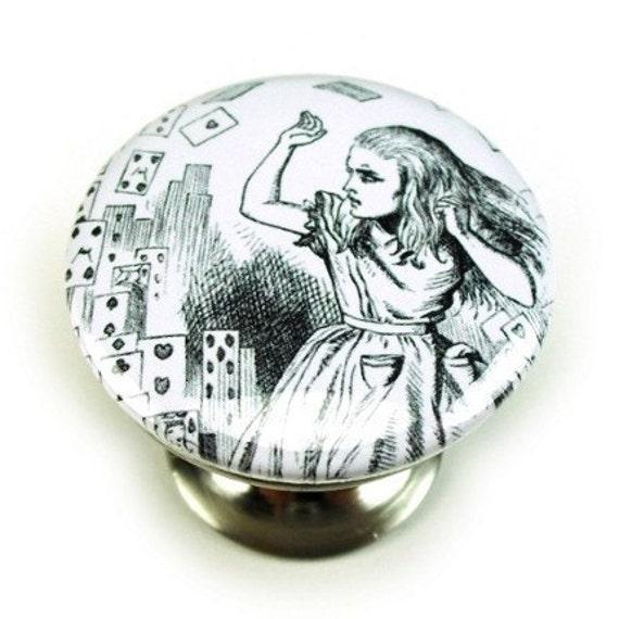 Satin Nickel Cabinet Knob, Alice's Adventures in Wonderland 1-7 (Drawer Pull)