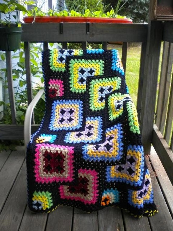Free Crochet Granny Square Afghan : Crochet Afghan Granny Square Black Geometric by by ...