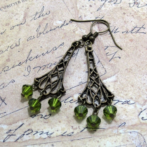 Peridot Swarvoski Crystal Chandelier Drop Earrings