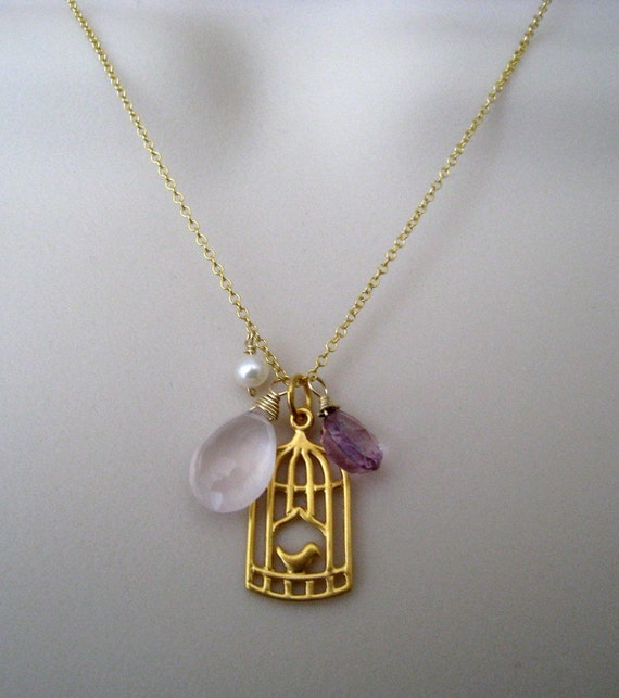 Bird cage charm with rose quartz, mystic pink quartz and fresh water pearl, 14k gold filled