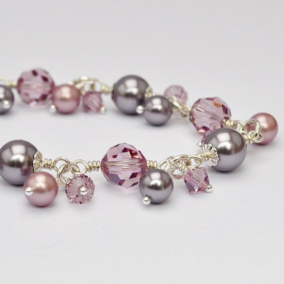 Bracelet Bridesmaids Wedding Plum Mauve Purple Amethyst Dusty Rose Linked