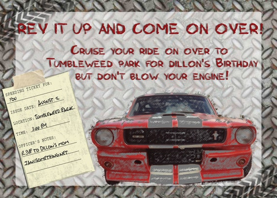 Birthday Invitation - Boys and their cars