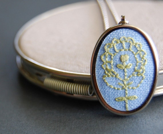 Embroidered Pendant Necklace Apple Green Bloom on Sky Blue Linen