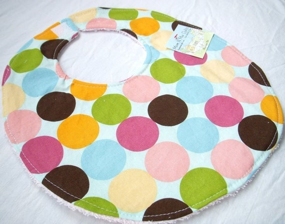Boutique Bib - Modern Sweetie Dots - Cotton bib with terry cloth backing