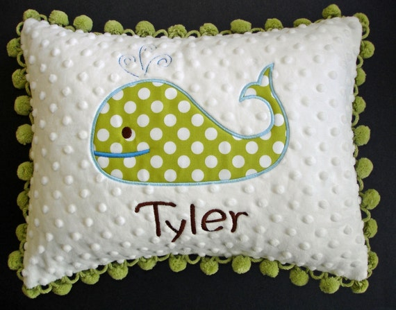 Personalized Polka Dot Whale Pillow with Pom Pom Trim
