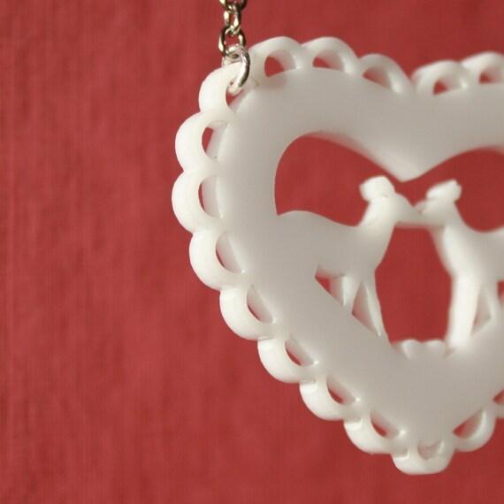 Kissing Deer - Modern Heart Necklace in White