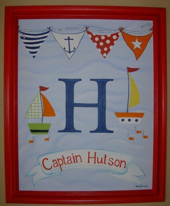 Boutique Boys M2M Pottery Barn Kids Baby Boats Cape Cod Nautical Transportation Nursery Bedding Wall Art Personalized