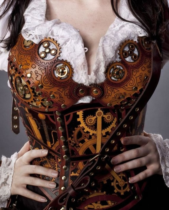 Hard leather clockwork bra - Custom