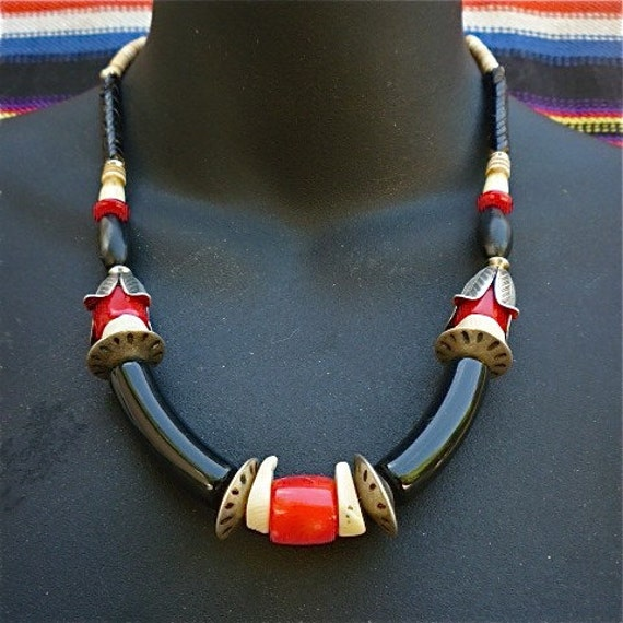 Bellagana - Faux Tribal Necklace w. Coral, Trade Beads, and Silver